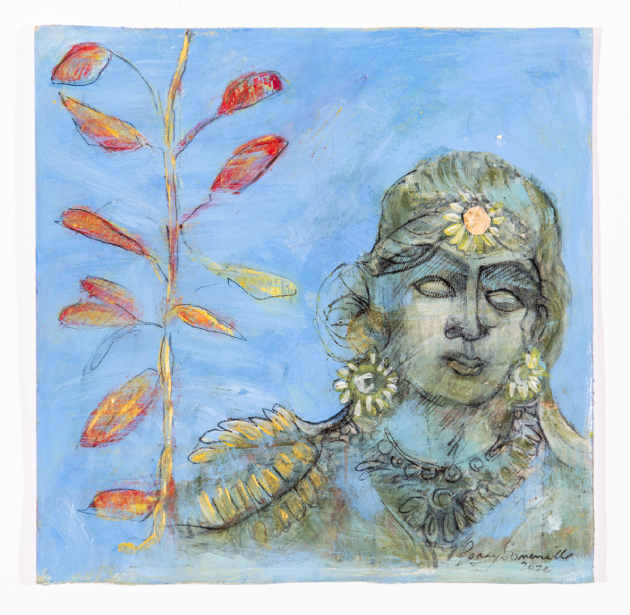 drawing of an Indian goddess